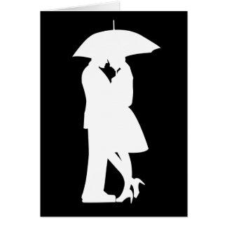 Romantic Couple Under Umbrella Greeting Card