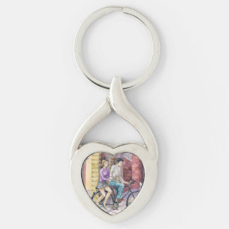 Romantic date Silver-Colored twisted heart key ring