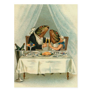 """Romantic Dinner for Frogs"" Vintage Postcard"