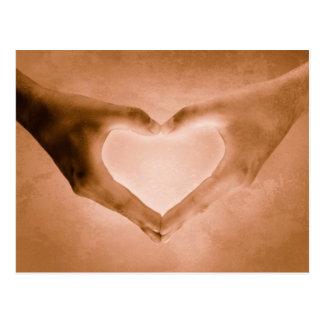 Romantic Hand Heart Postcard