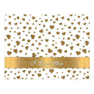 "Romantic ""I Love You"" gold faux glitter hearts Postcard"