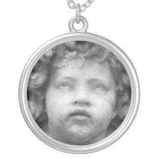 Romantic Italian Renaissance Angel Round Pendant Necklace
