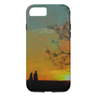 romantic peaceful sunset couple painting iPhone 7 case
