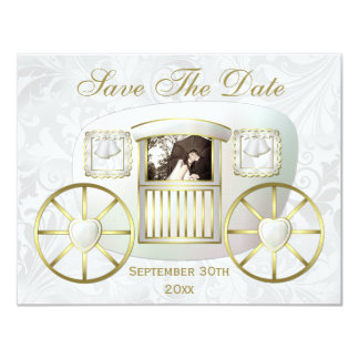 Romantic Photo Wedding Carriage Save the Date 11 Cm X 14 Cm Invitation Card