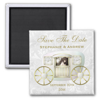 Romantic Photo Wedding Carriage Save the Date Square Magnet