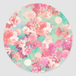 Romantic Pink Retro Floral Pattern Teal Polka Dots Round Sticker