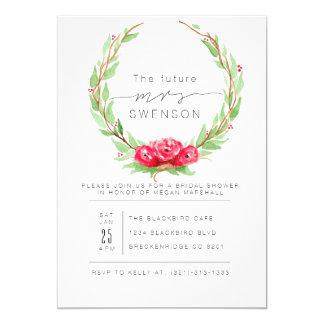 Romantic Rose Watercolor Wreath | Bridal Shower 13 Cm X 18 Cm Invitation Card