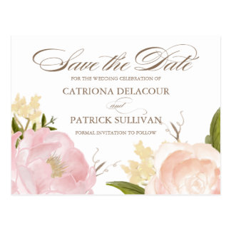 Romantic Watercolor Flowers Save the Date Postcard