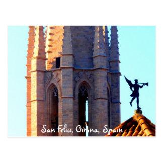 Roof of the Sant Feliu Cathedral, Girona, Spain Postcard