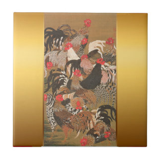 Roosters New Year 2017 Japanese Painting Tile