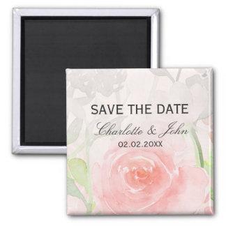 Rose Garden Modern Floral wedding save the Date Square Magnet