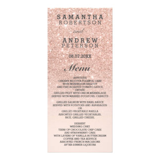 Rose gold faux glitter pink bilingual wedding menu rack cards