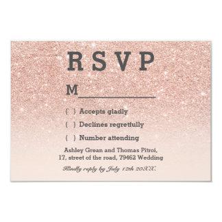 Rose gold faux glitter pink ombre RSVP wedding 9 Cm X 13 Cm Invitation Card