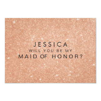 Rose Gold Glitter Maid of Honor Request Cards 13 Cm X 18 Cm Invitation Card