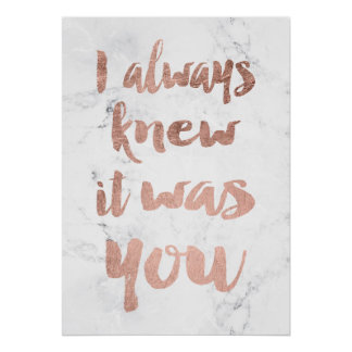 Rose gold marble love quote wedding poster