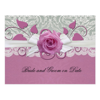 Rose Lace Silver/Pink Damask Save date card Postcard