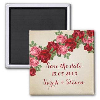 Rose Romantic Elegant Save the date Square Magnet