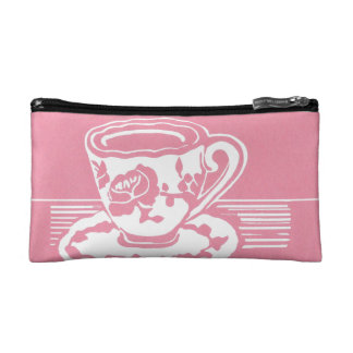 Rose Teacup Cosmetic Accessory Bag
