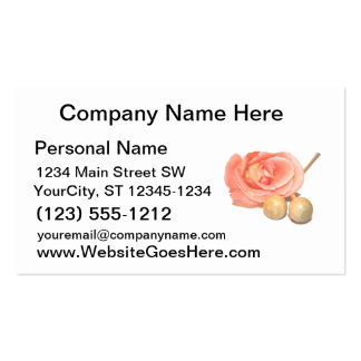 Rose with wooden percussion bell mallets faded cut pack of standard business cards