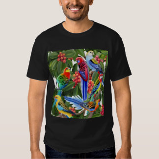 Rosella Parrots in Fig Tree Dark T-Shirt