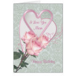 Roses and hearts -  Birthday card for Mum