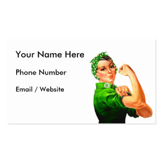 Rosie The Riveter - Green Military Pack Of Standard Business Cards