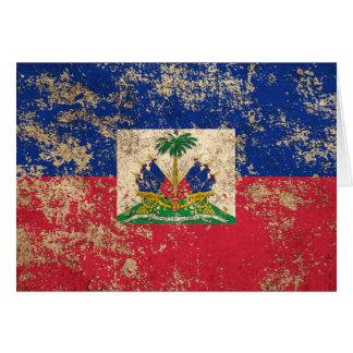 Rough Aged Vintage Haitian Flag Greeting Card