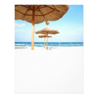 Row-of-beach-umbrellas BEACH GRASS UMBRELLAS OCEAN 21.5 Cm X 28 Cm Flyer