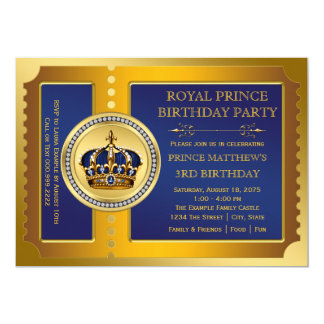 Royal Blue and Gold Prince Birthday Party 13 Cm X 18 Cm Invitation Card