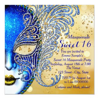 Royal Blue and Gold Sweet 16 Masquerade Party 13 Cm X 13 Cm Square Invitation Card