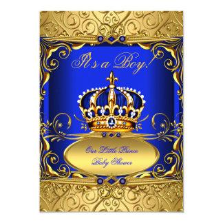 Royal Blue Damask Gold Crown Baby Shower Boy RB2 13 Cm X 18 Cm Invitation Card