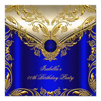 Royal Blue Gold Elegant Elite Birthday Party 13 Cm X 13 Cm Square Invitation Card