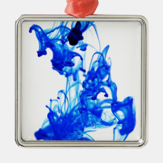 Royal Blue Ink Drop Macro Photography Silver-Colored Square Decoration