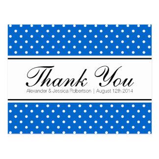 Royal blue polka dot wedding thank you postcards