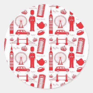 Royal London Landmarks Pattern Round Sticker