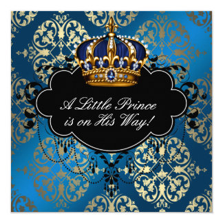 Royal Navy Blue Gold Prince Baby Boy Shower 13 Cm X 13 Cm Square Invitation Card