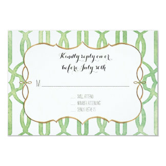 RSVP Garden Trellis Pattern Green Modern Simple 9 Cm X 13 Cm Invitation Card