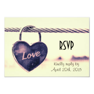 RSVP Heart Shaped Love Padlock Attached to a Rope 9 Cm X 13 Cm Invitation Card