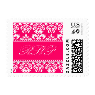 RSVP Pink and White Damask Postage Stamps