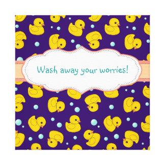 Rubber Duckie wash away your worries bathroom art Canvas Print