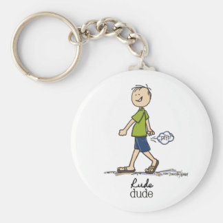 Rude Dude Humor Basic Round Button Key Ring