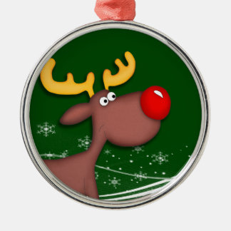 Rudolf Christmas Silver-Colored Round Decoration