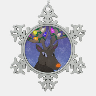 Rudolf with Lights Pewter Snowflake Decoration
