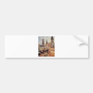 Rue de l'epicerie at Rouen, on a Grey Morning Bumper Sticker