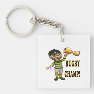 Rugby Champ Single-Sided Square Acrylic Key Ring