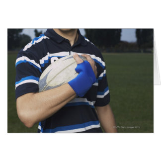 Rugby player with ball greeting card