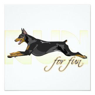 Run For Fun, Black Doberman 13 Cm X 13 Cm Square Invitation Card