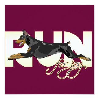 Run for Joy, Black Doberman 13 Cm X 13 Cm Square Invitation Card