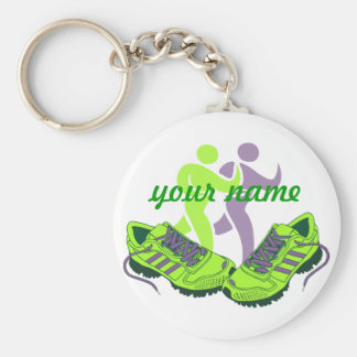 Runner Personalized Basic Round Button Key Ring