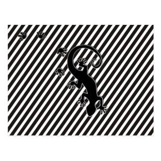 Running Gecko - black & white stripes Postcard